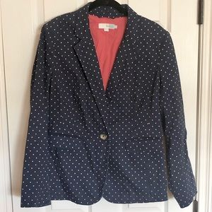 Boden cotton navy polka dot blazer sz 12R